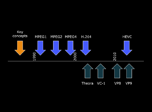 Timeline for various video coding standards and formats